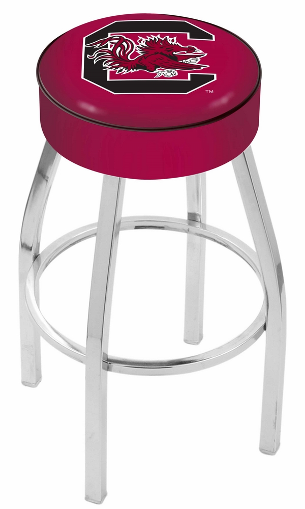 "South Carolina Gamecocks (L8C1) 25"" Tall Logo Bar Stool by Holland Bar Stool Company (with Single Ring Swivel Chrome Solid Welded Base)"