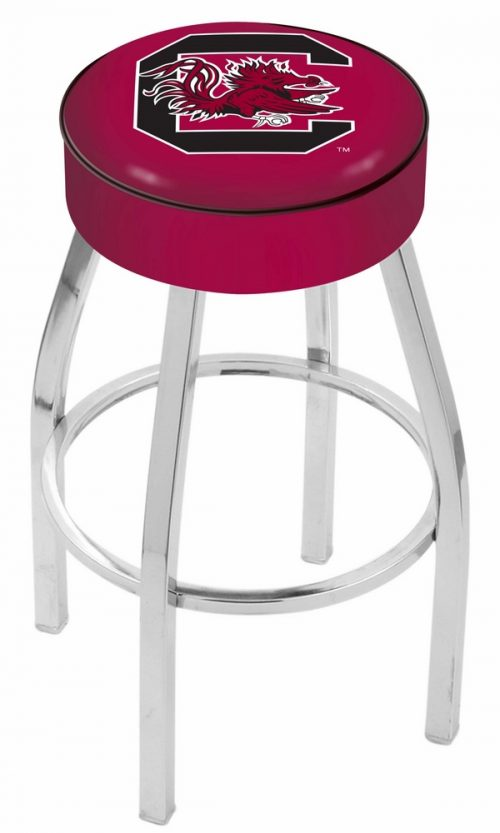 "South Carolina Gamecocks (L8C1) 30"" Tall Logo Bar Stool by Holland Bar Stool Company (with Single Ring Swivel Chrome Solid Welded Base)"