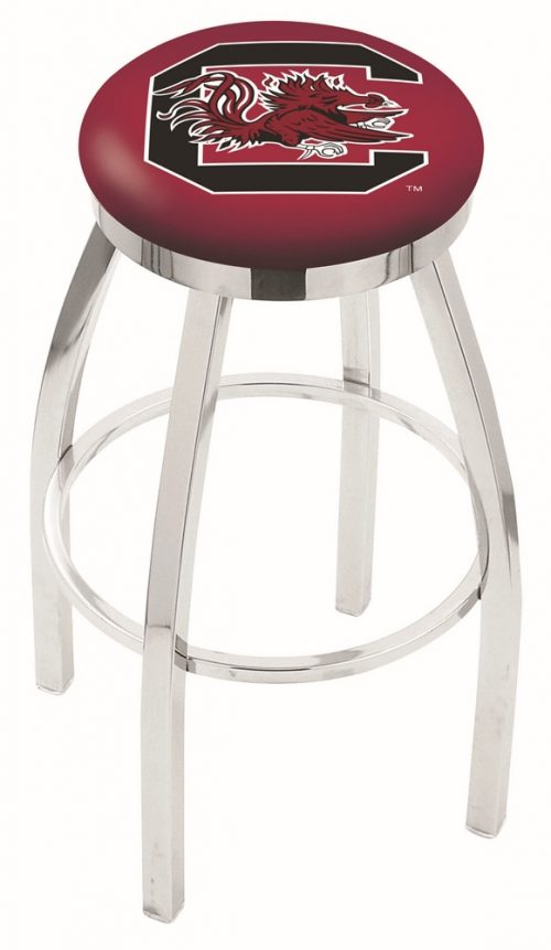 "South Carolina Gamecocks (L8C2C) 30"" Tall Logo Bar Stool by Holland Bar Stool Company (with Single Ring Swivel Chrome Solid Welded Base)"