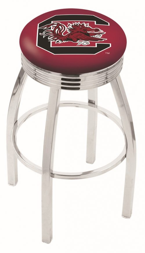 "South Carolina Gamecocks (L8C3C) 25"" Tall Logo Bar Stool by Holland Bar Stool Company (with Single Ring Swivel Chrome Solid Welded Base)"