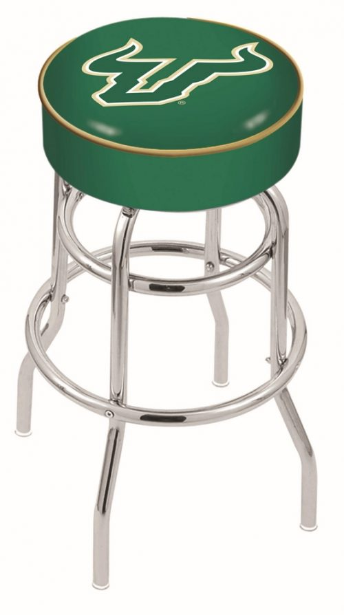 "South Florida Bulls (L7C1) 25"" Tall Logo Bar Stool by Holland Bar Stool Company (with Double Ring Swivel Chrome Base)"