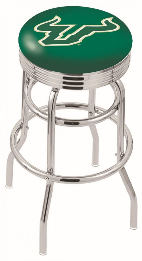"South Florida Bulls (L7C3C) 25"" Tall Logo Bar Stool by Holland Bar Stool Company (with Double Ring Swivel Chrome Base)"