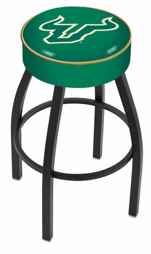 "South Florida Bulls (L8B1) 25"" Tall Logo Bar Stool by Holland Bar Stool Company (with Single Ring Swivel Black Solid Welded Base)"