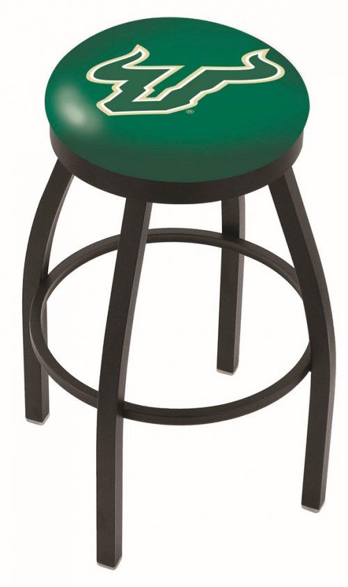 "South Florida Bulls (L8B2B) 25"" Tall Logo Bar Stool by Holland Bar Stool Company (with Single Ring Swivel Black Solid Welded Base)"
