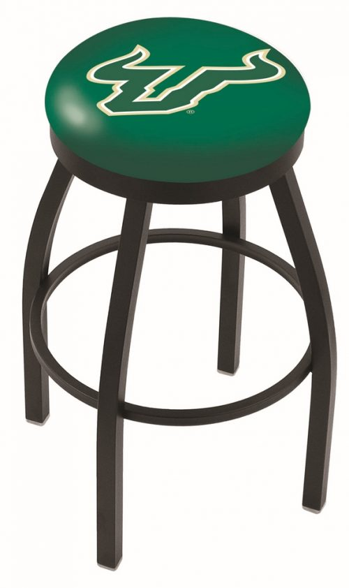 "South Florida Bulls (L8B2B) 30"" Tall Logo Bar Stool by Holland Bar Stool Company (with Single Ring Swivel Black Solid Welded Base)"