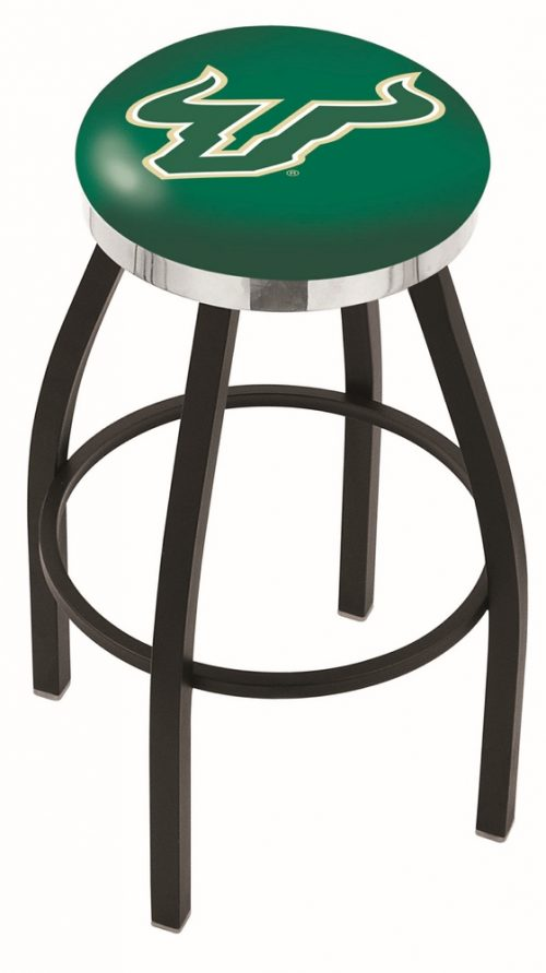 "South Florida Bulls (L8B2C) 30"" Tall Logo Bar Stool by Holland Bar Stool Company (with Single Ring Swivel Black Solid Welded Base)"