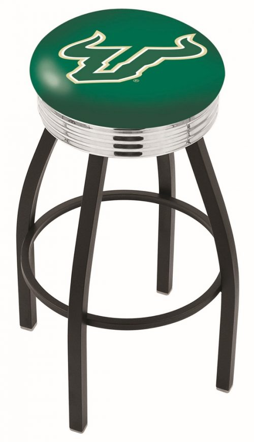 "South Florida Bulls (L8B3C) 25"" Tall Logo Bar Stool by Holland Bar Stool Company (with Single Ring Swivel Black Solid Welded Base)"