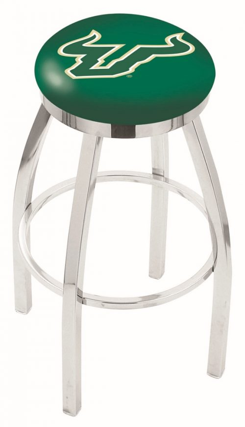 "South Florida Bulls (L8C2C) 25"" Tall Logo Bar Stool by Holland Bar Stool Company (with Single Ring Swivel Chrome Solid Welded Base)"
