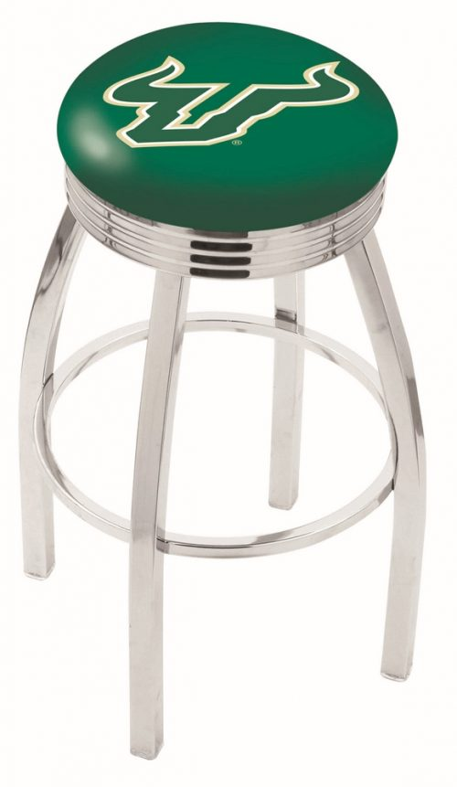 "South Florida Bulls (L8C3C) 30"" Tall Logo Bar Stool by Holland Bar Stool Company (with Single Ring Swivel Chrome Solid Welded Base)"