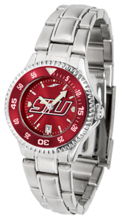 Southern Illinois Salukis Competitor AnoChrome Ladies Watch with Steel Band and Colored Bezel