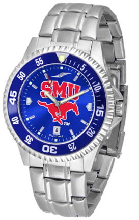 Southern Methodist (SMU) Mustangs Competitor AnoChrome Men's Watch with Steel Band and Colored Bezel