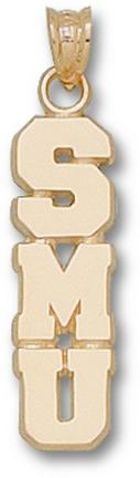 "Southern Methodist (SMU) Mustangs Vertical ""SMU"" Pendant - 10KT Gold Jewelry"