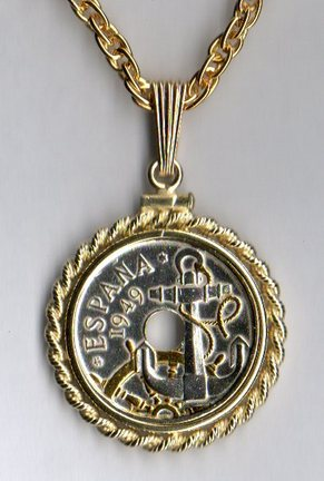 "Spanish 50 Centimes ""Anchor and Ships Wheel"" Two Tone Rope Bezel Coin on 18"" Chain"