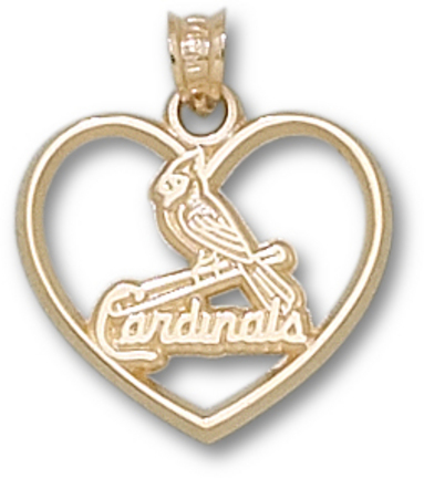 St. Louis Cardinals One Bird Heart Pendant - 10KT Gold Jewelry