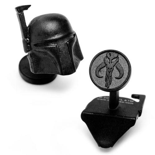 Star Wars 3-D Boba Fett Helmet Matte Black Cuff Links - 1 Pair
