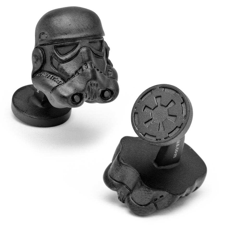 Star Wars 3-D Storm Trooper Helmet Matte Black Cuff Links - 1 Pair