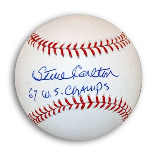 "Steve Carlton Autographed MLB Baseball Inscribed ""67 WS Champs"