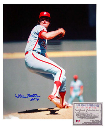 "Steve Carlton Philadelphia Phillies MLB Autographed ""Pitching"" 16"" x 20"" Photograph with ""HOF 94"" Inscription (Unframed)"