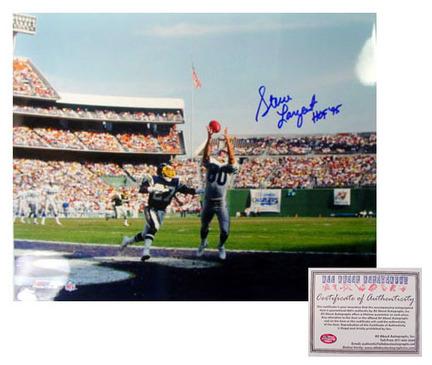 "Steve Largent Seattle Seahawks NFL Autographed ""Touchdown"" 16"" x 20"" Photograph with ""HOF 95"" Inscription (Unframed)"