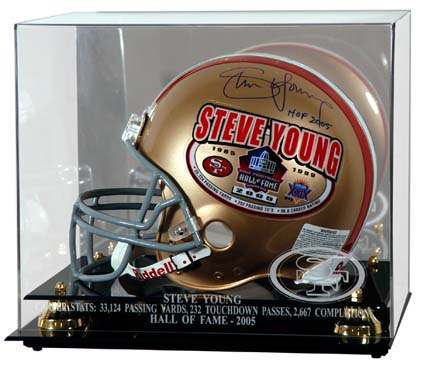 Steve Young 2005 Hall of Fame Engraved Golden Classic Football Helmet Display Case