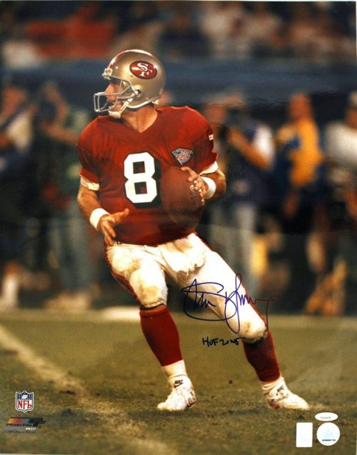 "Steve Young San Francisco 49ers Autographed 16"" x 20"" Unframed Photograph Inscribed ""HOF 2005"" (Back to Pass)"