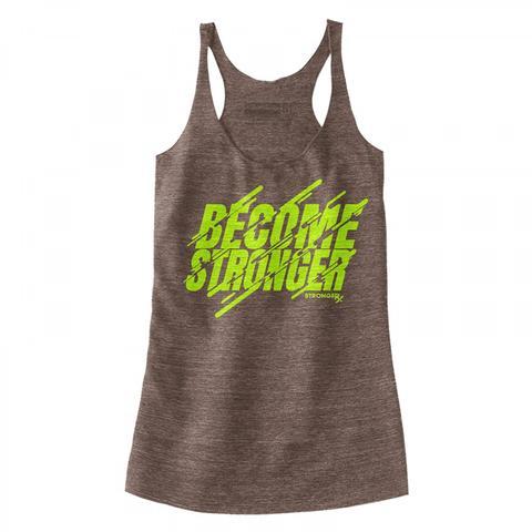 StrongerRX WTtBcmStgBNSM Become Stronger Tank Top for Women Brown - Small