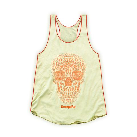 StrongerRX WTtBdAsSkBKSM Bad Ass Skull Tank Top for Women Yellow - Small