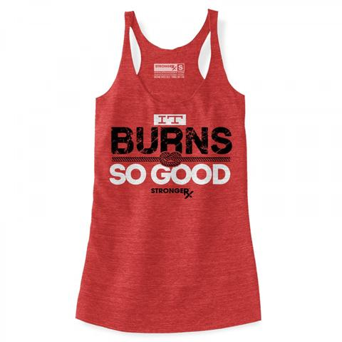 StrongerRX WTtBrnGooRD It Burns so Good Tank Top for Women Red - Large