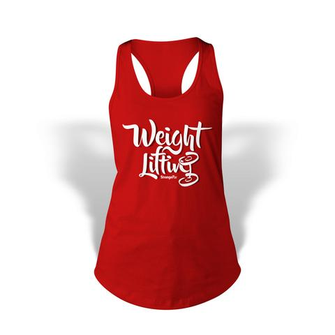 StrongerRX WTtWghLftRDSM Weight Lifting Tank Top for Women Red - Small