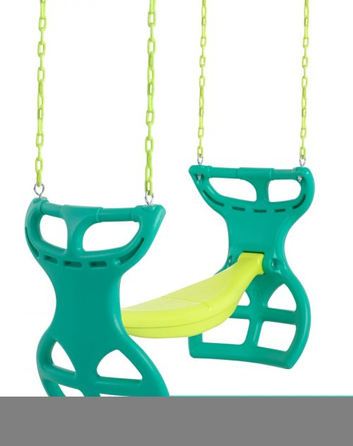 Swingan SWGSC-GY 11.5 x 17.5 x 34 in. Two Seater Glider Swing with Vinyl Coated Chain Green & Yellow