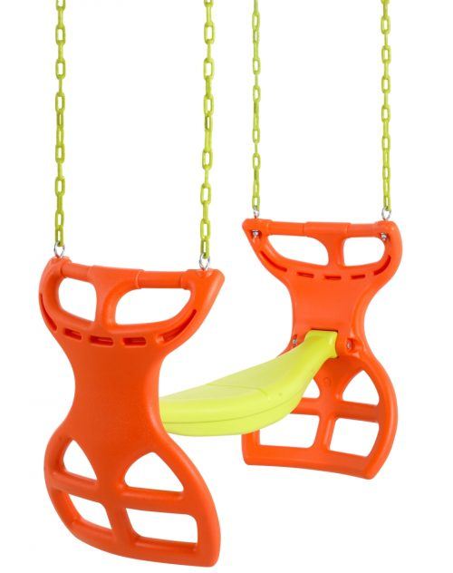 Swingan SWGSC-OY 11.5 x 17.5 x 34 in. Two Seater Glider Swing with Vinyl Coated Chain Orange & Yellow