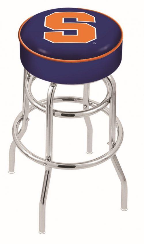 "Syracuse Orange (Orangemen) (L7C1) 25"" Tall Logo Bar Stool by Holland Bar Stool Company (with Double Ring Swivel Chrome Base)"
