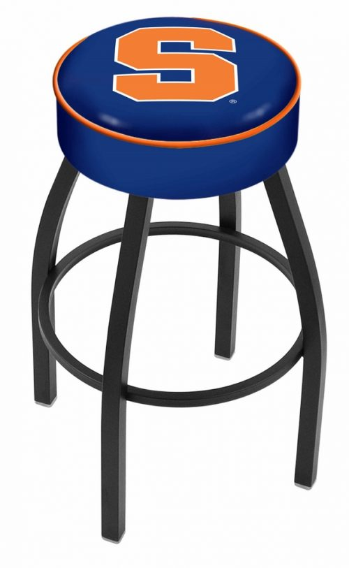"Syracuse Orange (Orangemen) (L8B1) 25"" Tall Logo Bar Stool by Holland Bar Stool Company (with Single Ring Swivel Black Solid Welded Base)"