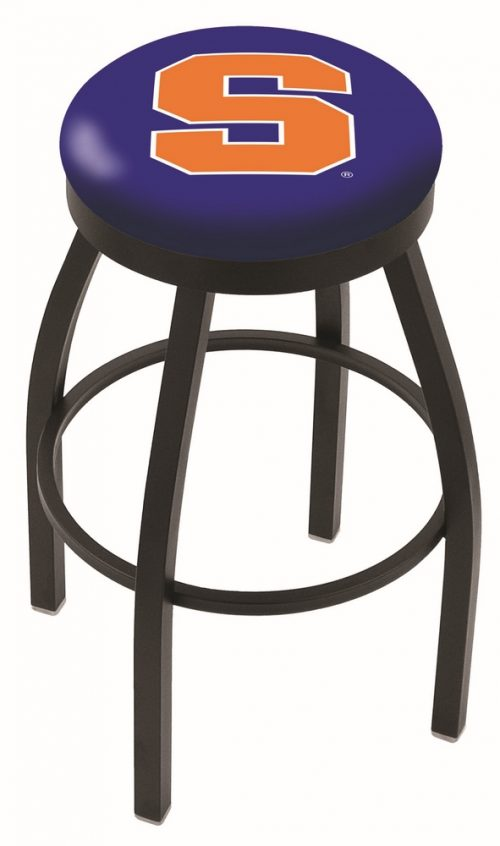 "Syracuse Orange (Orangemen) (L8B2B) 30"" Tall Logo Bar Stool by Holland Bar Stool Company (with Single Ring Swivel Black Solid Welded Base)"