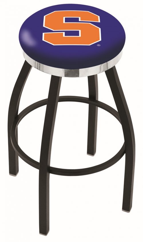 "Syracuse Orange (Orangemen) (L8B2C) 25"" Tall Logo Bar Stool by Holland Bar Stool Company (with Single Ring Swivel Black Solid Welded Base)"