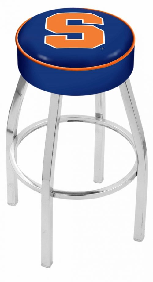 "Syracuse Orange (Orangemen) (L8C1) 25"" Tall Logo Bar Stool by Holland Bar Stool Company (with Single Ring Swivel Chrome Solid Welded Base)"