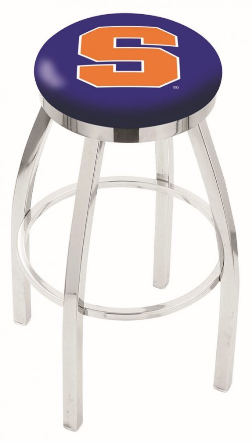 "Syracuse Orange (Orangemen) (L8C2C) 25"" Tall Logo Bar Stool by Holland Bar Stool Company (with Single Ring Swivel Chrome Solid Welded Base)"