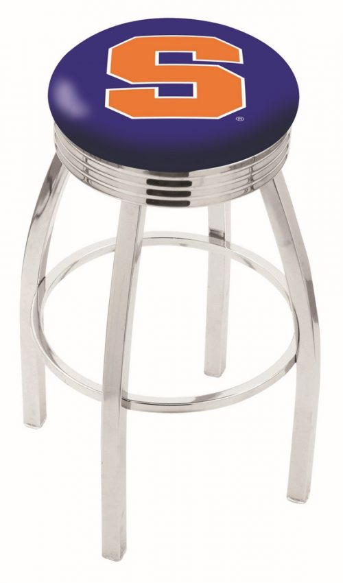 "Syracuse Orange (Orangemen) (L8C3C) 25"" Tall Logo Bar Stool by Holland Bar Stool Company (with Single Ring Swivel Chrome Solid Welded Base)"