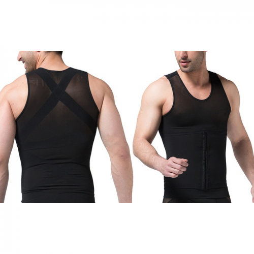 Tagco USA EF-3CPSB-BLA-L 3-in-1 Men Compression & Posture Corrector Shirt with Slimming Belt Black - Large