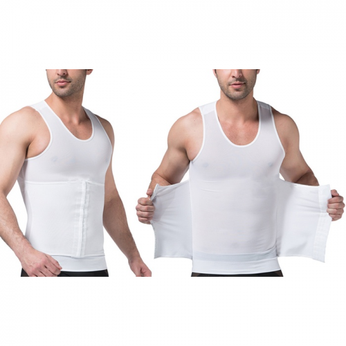 Tagco USA EF-3CPSB-WHI-M 3-in-1 Men Compression & Posture Corrector Shirt with Slimming Belt White - Medium