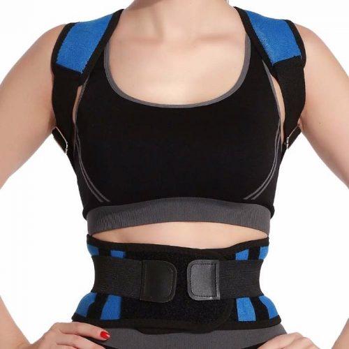 Tagco USA EF-POBPCB-BLU-M Adjustable Posture-Support Brace & Double-Compression Belt Blue - Medium & Large