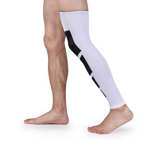 Tagco USA EF-RONSA-WHI-L Unisex Full-Length Knee & Calf Compression Sleeves White - Large & Extra Large Pack of 2