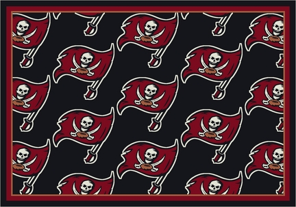"Tampa Bay Buccaneers 3' 10"" x 5' 4"" Team Repeat Area Rug (Black)"