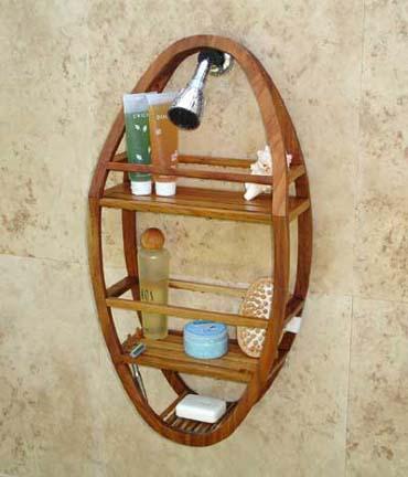 Teak Oval Shower Organizer / Caddy