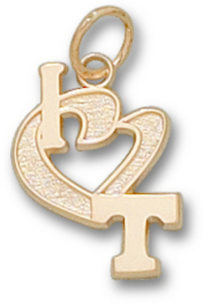 "Tennessee Volunteers 1/2"" ""I Heart T"" Charm - 10KT Gold Jewelry"
