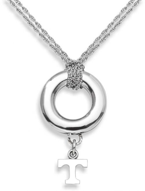 """Tennessee Volunteers 3/8"""" Power """"T"""" Sterling Silver Halo Necklace"""