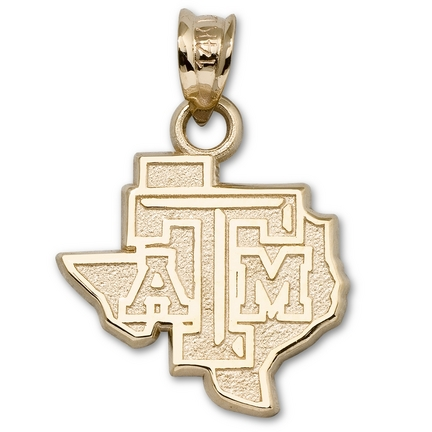 """Texas A & M Aggies 1/2"""" """"ATM"""" State Pendant - 10KT Gold Jewelry"""