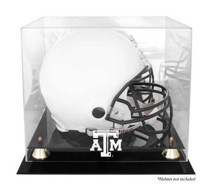 Texas A & M Aggies Golden Classic Logo Football Helmet Display Case with Mirror Back