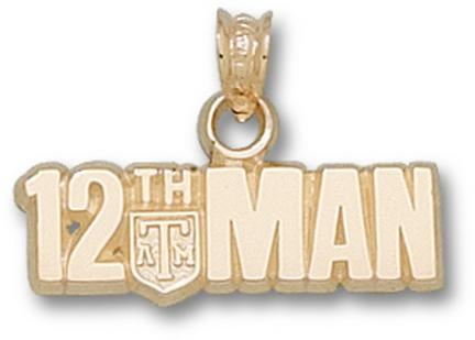 "Texas A & M Aggies Horizontal ""The 12th Man"" Pendant - 10KT Gold Jewelry"