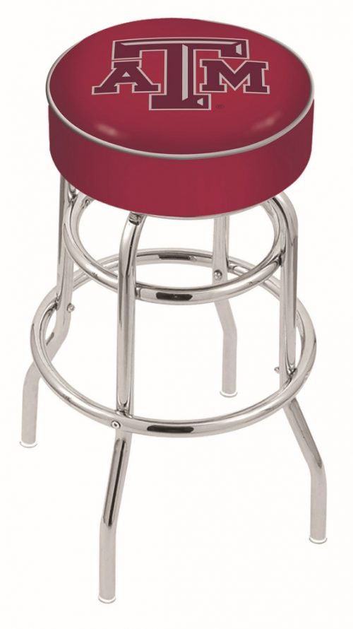 "Texas A & M Aggies (L7C1) 25"" Tall Logo Bar Stool by Holland Bar Stool Company (with Double Ring Swivel Chrome Base)"